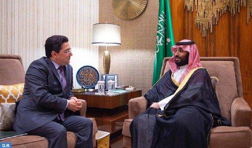 Le prince héritier Mohamed Ben Salmane reçoit le chef de la diplomatie marocaine, Nasser Bourita