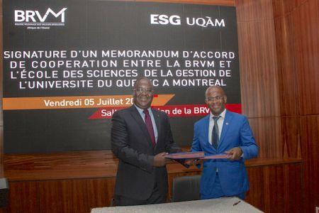 UEMOA : la BRVM signe une convention avec L'ESG UAQM en vue de la formation des acteurs du marché financier régional
