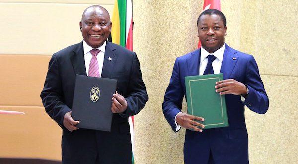Un accord-cadre de coopération, fruit de la visite de Cyril Ramaphosa au Togo